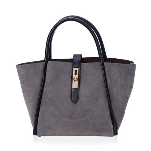 Set of 2 - Grey Colour Tote Bag and Black Colour Crossbody Bag with Adjustable and Removable Shoulder Strap (Size 38x23.5x13.5 and 33x19x12 Cm)