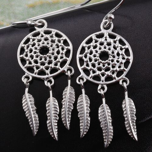 One Time Deal-Rhodium Plated Sterling Silver Dreamcatcher Hook Earrings, Silver wt 5.40 Gms.