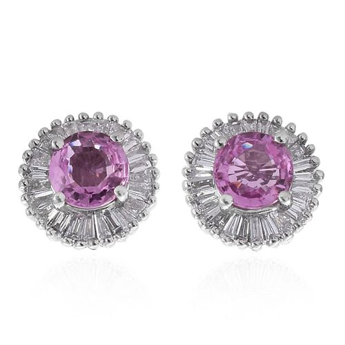 RHAPSODY 950 Platinum 1.25 Ct AAAA Pink Sapphire Halo Stud Earrings with Diamond VS E-F (with Screw Back)