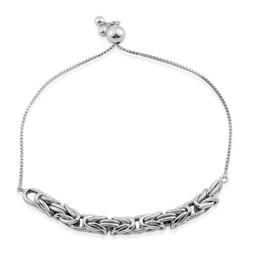 Limited Edition- Vicenza Collection- Sterling Silver Byzantine Adjustable Bracelet (Size 6.5 to 9), Silver wt. 5.60 Gms.