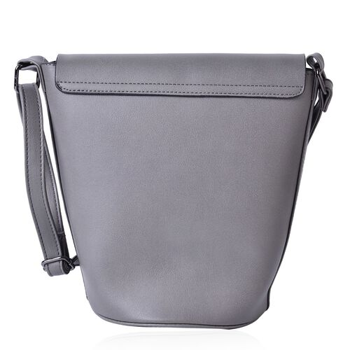 Grey Colour Crossbody Bag with Adjustable Shoulder Strap (Size 24.5x24x16x16 cm)