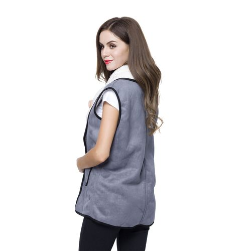 New Season - Grey Colour Drape Collar Sherpa Style Gilet (Size 80X50 Cm) with Pockets (Size 14X12 Cm)