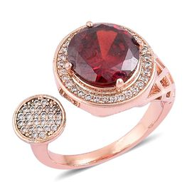 ELANZA AAA Simulated Ruby and Simulated Diamond Contemporary Open Ring in Rose Gold Tone