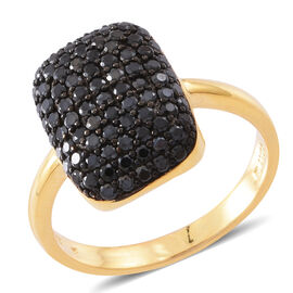 Boi Ploi Black Spinel (Rnd) Cluster Ring in Yellow Gold and Black Rhodium Plated Sterling Silver 2.500 Ct. Silver wt 6.00 Gms.No OF Stones 86