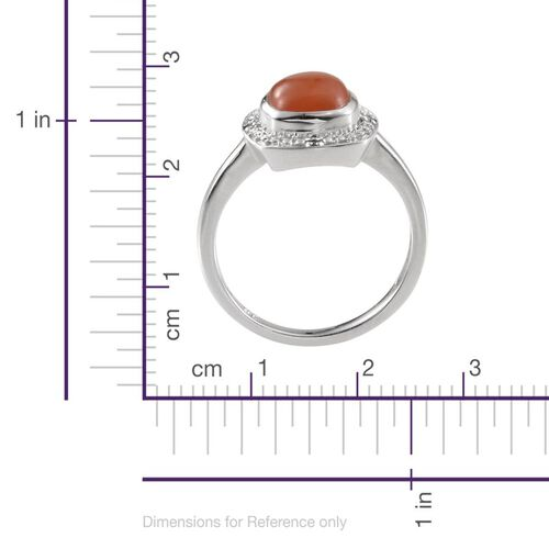Mitiyagoda Peach Moonstone (Cush 2.50 Ct), Diamond Ring in Platinum Overlay Sterling Silver 2.520 Ct.