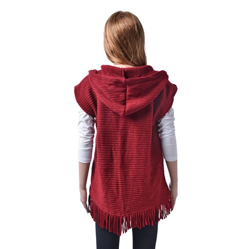 New Season- Red Colour Gilet Cardigan (Size 60x55 Cm)