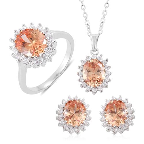 AAA Simulated Champagne Diamond and Simulated White Diamond Ring, Pendant With Chain (Size 22) and Stud Earrings (with Clasp) in Silver Tone