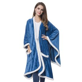 Italian Designer Inspired-Blue and White Colour Microfiber Flannel Wrap with Sherpa Border (Size 140X90 Cm)