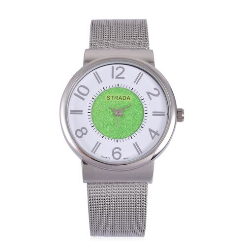 STRADA Japanese Movement Green Stardust and White Dial Water Resistant Watch in Silver Tone with Stainless Steel Back and Chain Strap