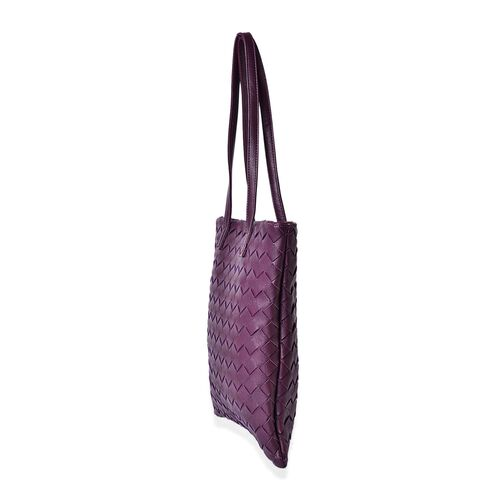 Stella Rich Purple Colour Weave Pattern Tote Bag (Size 34x32 Cm)