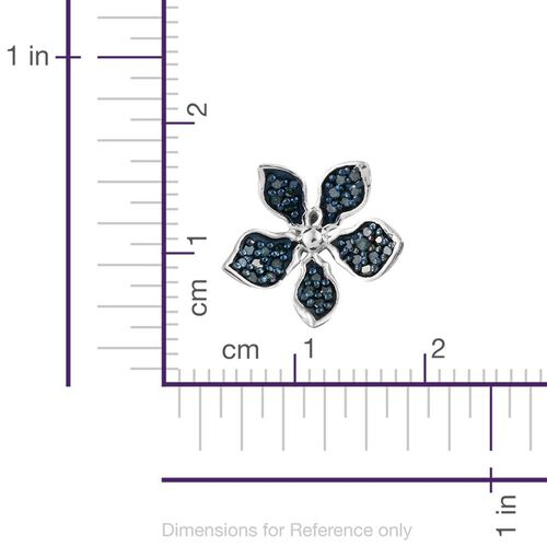 Kimberley Forget Me Not Collection - Blue Diamond Floral Stud Earrings (with Push Back) in Platinum Overlay Sterling Silver 0.330 Ct.