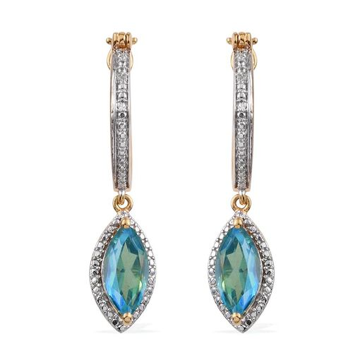 Peacock Quartz (Mrq), Diamond Earrings (with Clasp) in 14K Gold Overlay Sterling Silver 5.010 Ct.