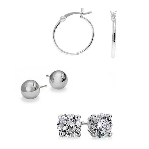 Set of 3 - ELANZA AAA Simulated Diamond (Rnd) Stud Earrings (with Push Back) and Sterling Silver Hoop Earrings (with Clasp) and Ball Stud Earrings (with Push Back)