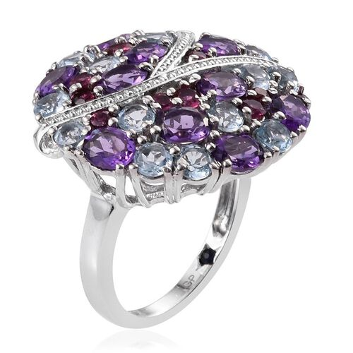 GP Amethyst (Ovl), Sky Blue Topaz, Rhodolite Garnet and Kanchanaburi Blue Sapphire Ring in Platinum Overlay Sterling Silver 7.000 Ct.