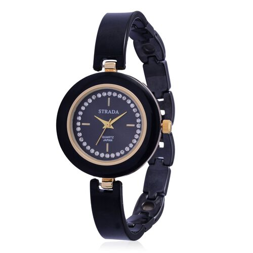 STRADA Japanese Movement Black Dial with White Austrian Crystal Water Resistant Watch in Gold Tone with Stainless Steel Back and Black Ceramic Strap