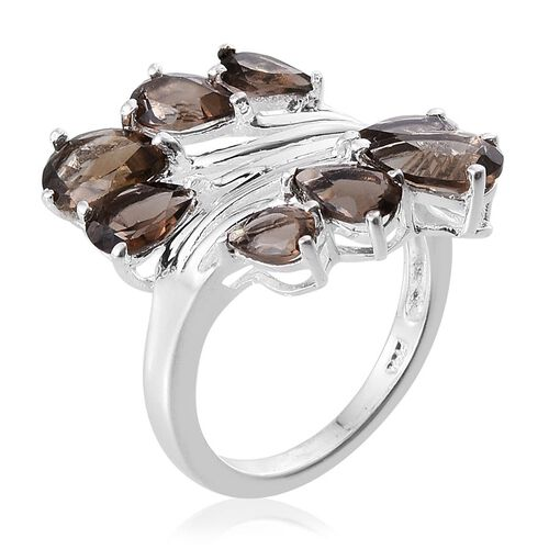 Brazilian Smoky Quartz (Pear) Crossover Ring in Sterling Silver 3.000 Ct.