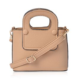 Beige Colour Tote Bag with Adjustable and Removable Shoulder Strap (Size 20.5x15x9 Cm)