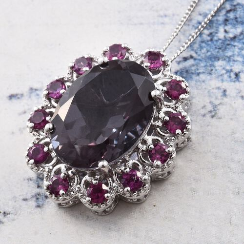 Alexandria Quartz (Ovl 13.55 Ct), Purple Garnet Pendant With Chain in Platinum Overlay Sterling Silver 15.250 Ct.