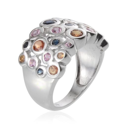 Orange Sapphire (Rnd), Kanchanaburi Blue Sapphire and Pink Sapphire Ring in Platinum Overlay Sterling Silver 2.750 Ct.