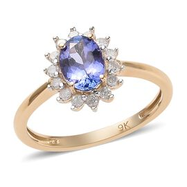 9K Yellow Gold 1 Ct. AA Tanzanite Halo Ring with Diamond