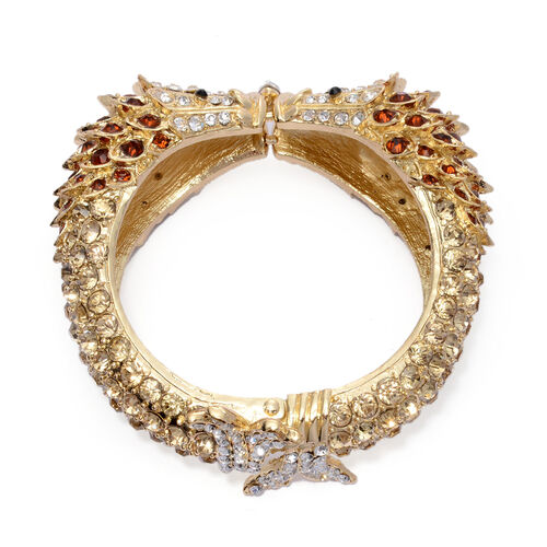 Designer Inspired Champagne and Multi Colour Austrian Crystal Bangle (Size 7.5) in Gold Tone