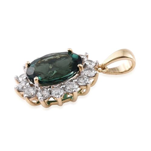 9K Yellow Gold AAA Natural Indian Ocean Apatite (Ovl 2.75 Ct), Natural Cambodian Zircon Pendant 3.500 Ct.