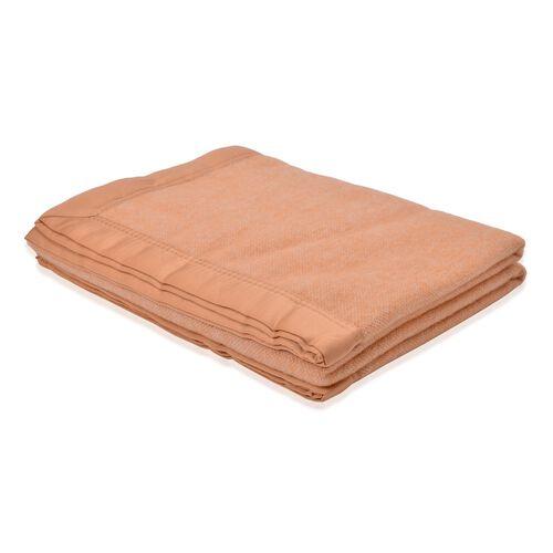 100% Woolmark Certified Australian Merino Wool Orange Colour Blanket with Satin Border (Size 160x130 Cm)