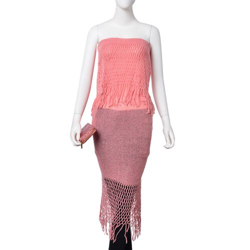 Christmas Special Deal- Silver Thread Knitted Pink Colour Scarf (Size 170x20 Cm) and Ladies Wallet