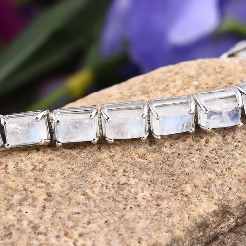 Natural Rainbow Moonstone (Bgt), Natural Cambodian Zircon Bracelet (Size 7.5) in Platinum Overlay Sterling Silver 17.800 Ct.