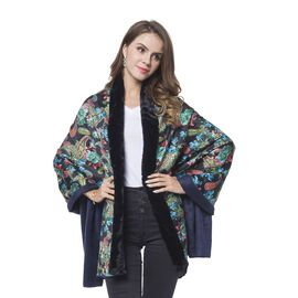Black, Green and Multi Colour Paisley Pattern Reversible Shawl with Faux Fur at Back (Size 184X80 Cm)