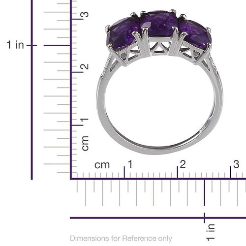 Lusaka Amethyst (Cush) Trilogy Ring in Platinum Overlay Sterling Silver 4.750 Ct.
