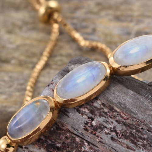 Rainbow Moonstone (Ovl) Adjustable Trilogy Bracelet (Size 7 to 8) in 14K Gold Overlay Sterling Silver 8.000 Ct.