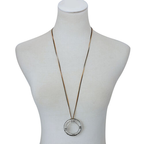 White Austrian Crystal Roman Numerals Circle Pendant in Black Tone with Silver, Yellow and Black Tone Chain (Size 32)