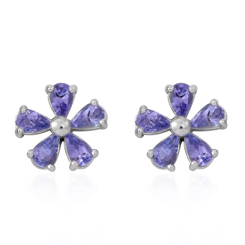 Tanzanite (Rnd) Floral Stud Earrings (with Push Back) in Rhodium Plated Sterling Silver 2.000 Ct.