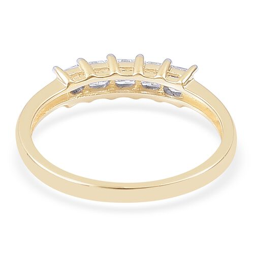 ILIANA 18K Yellow Gold 0.50 Carat Princess Cut Diamond 5 Stone Ring, SI G-H, IGI Certified