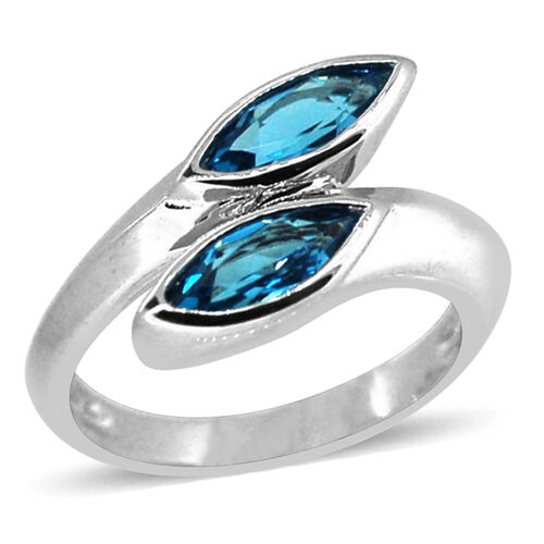 Sky Blue Topaz (Mrq) Crossover Ring in Rhodium Plated Sterling Silver 2.250 Ct.