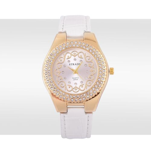 STRADA Japanese Movement White Austrian Crystal Studded White Dial Water Resistant Watch in Gold Tone with Stainless Steel Back and White Strap
