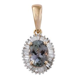 9K Y Gold Peacock Tanzanite (Ovl), Diamond Pendant 1.000 Ct.