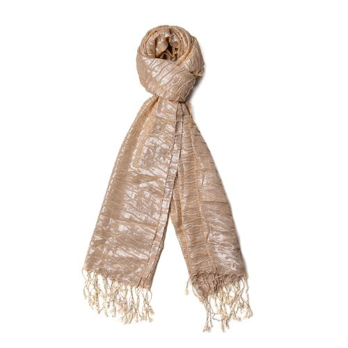 Water Wave Shape Golden Colour Scarf with Tassels (Size 170x65 Cm)