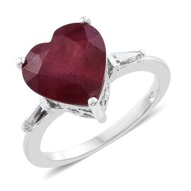 African Ruby (Hrt), White Topaz Ring in Platinum Overlay Sterling Silver 8.000 Ct.