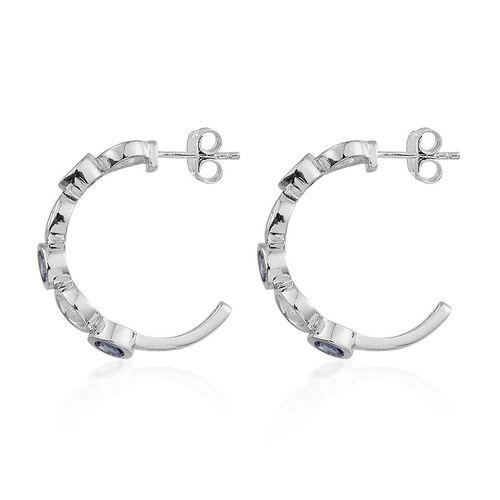 Tanzanite (Rnd) J Hoop Earrings (with Push Back) in Platinum Overlay Sterling Silver 1.400 Ct.