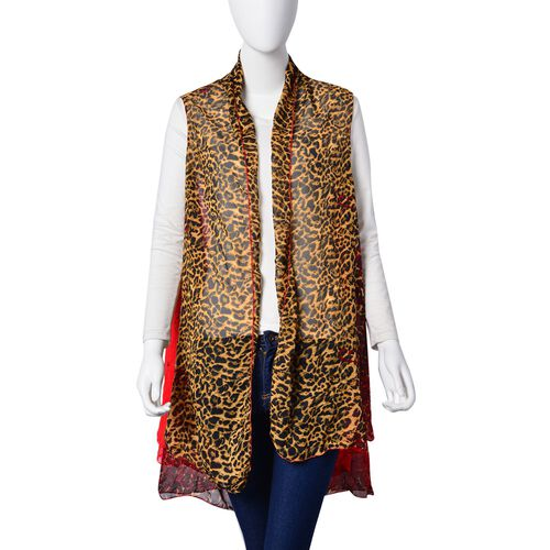 Summer Collection-Leopard Printed Red Colour Poncho (Free Size)