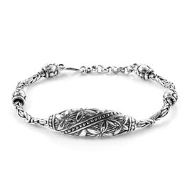 Royal Bali Collection Sterling Silver Flower and Filigree Borobudur Bracelet (Size 7 with 1 inch Extender), Silver wt 22.54 Gms.