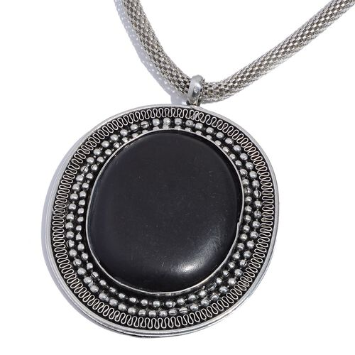 Jewels of India Black Onyx Necklace (Size 18 with 2 inch Extender)