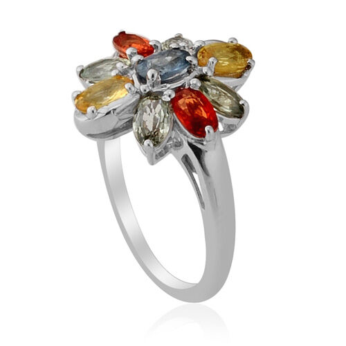 Colour Couture- Multi Gem Stone Platinum Overlay Sterling Silver Ring  2.350 Ct.