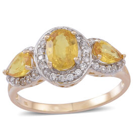 9K Y Gold AA Chanthaburi Yellow Sapphire (Ovl 1.00 Ct), Natural White Zircon Ring 2.250 Ct.