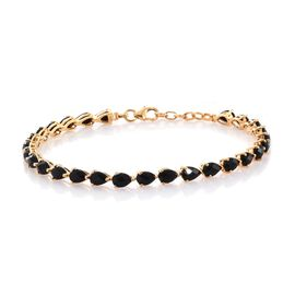 TJC Launch-ROSE CUT Black Onyx (Pear) Bracelet (Size 7.5 with Half inch Extender) in 14K Gold Overlay Sterling Silver 7.750 Ct.