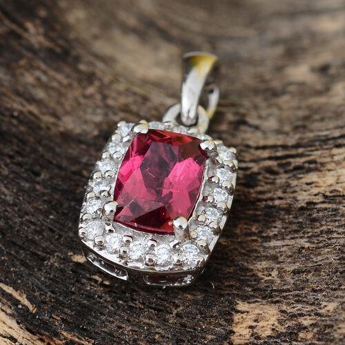 RHAPSODY 950 Platinum AAAA Ouro Fino Rubelite (Cush), Diamond Pendant 0.950 Ct.