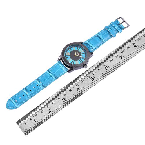 STRADA Japanese Movement Roman Numeral Dial Water Resistant Watch in Black Tone with Stainless Steel Back and Blue Colour Strap