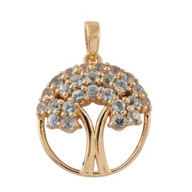 Espirito Santo Aquamarine 0.75 Ct Silver Tree of Life Pendant in Gold Overlay